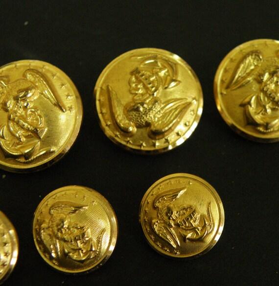 Nine Marine Uniform Buttons // Brass Metal Eagle Anchor Military USA