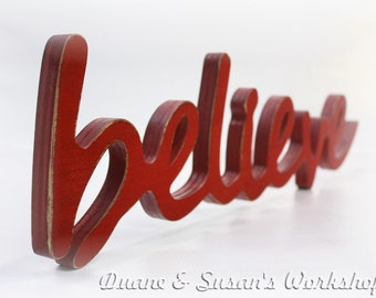 believe Sign, Wall hanging, Shabby chic, cottage, wooden letters, home decor, wood sign, Housewares, Wall Decor