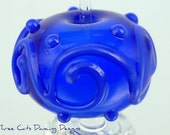 Handmade Blue Glass Focal Bead with Blue Scrollwork - SRA Free Shipping