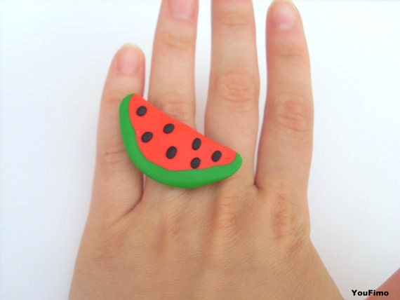 Watermelon ring summer colorful handmade with polymer clay
