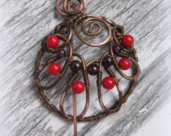 Shawl pin, scarf pin, copper shawl pin - Copper Wire Brooch with Garnet And Coral - Fibula - Circle  Round Spiral - Made to order