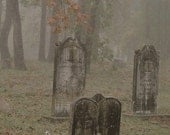 Spooky Dark Cemetery, Foggy Headstones in Cemetery, Creepy Landscape Perfect for Halloween Signed Photo Art.