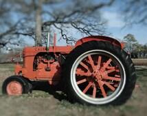 8x10 Texas Landscape, Case Tractor, Vintage Tractor Print, Orange Tractor Photo, Farm Equipment, Photo for Him