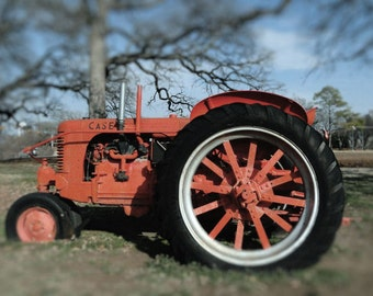 8x10 Texas Landscape, Case Tractor, Vintage Tractor Print, Orange Tractor Photo, Farm Equipment, Photo for Him