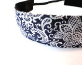 Navy Blue and White Floral Hairband (Everband)