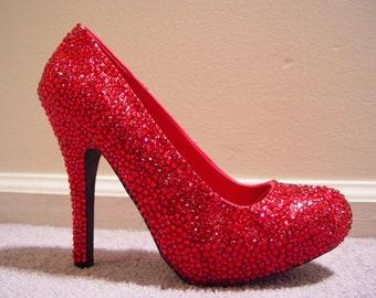 Hand Made Womens Christian Louboutin Style Red Rhinestone High Heel Shoes