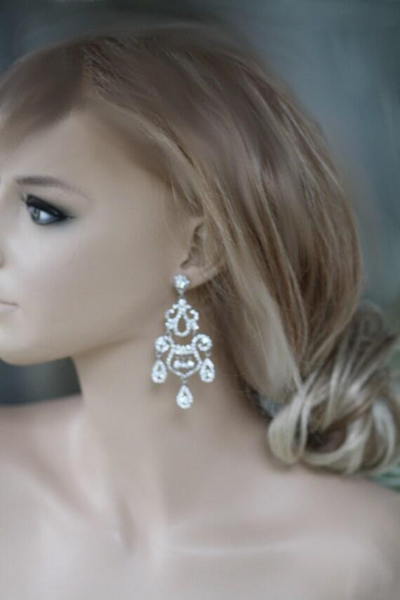 Paris wedding chandelier bridal earrings