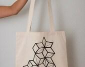 Eco Geometric Print Tote Bag ( Black)