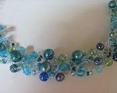 Necklace crochet teal pearls blue glass beads choker