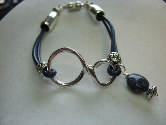 Leather Bracelet, Navy Blue Infinity, Blue Lapis Beaded Charm