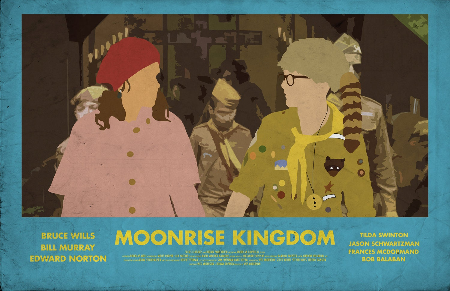 Moonrise Kingdom 11 X 17 Minimalist Movie Poster By Printwolf