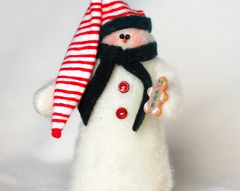 Snowman with a Gingerbread Cookie & Stocking Cap
