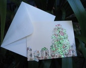 Green Variagated Christmas Tree Note Card - Set of 4  LIMITED Edition