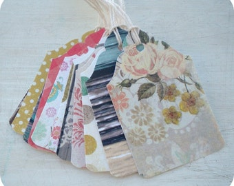 2.00 SALE - Sunday's Best Tags or Labels - Set of 23 - Cottage Shabby Chic