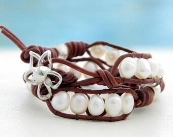 Waikiki... Leather wrap bracelet... Beaded Double Wrap Bracelet. Original OceanBead Style.