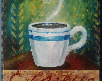 Cafe Espresso Mixed media art wooden beveled  plaque ready to hang