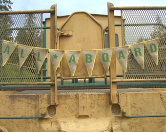 Upcycled ALL ABOARD Burlap Banner (Lime Green Painted Letters and Yellow Felt Backing) Eco Friendly Home Decor for Train Enthusiast
