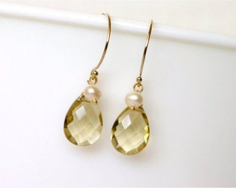 Gemstone Earrings, Champagne Quartz Faceted Pear Briolettes, Freshwater Potato Pearls, Gold-filled Wire and Earwires. Dainty. Gift. E135.