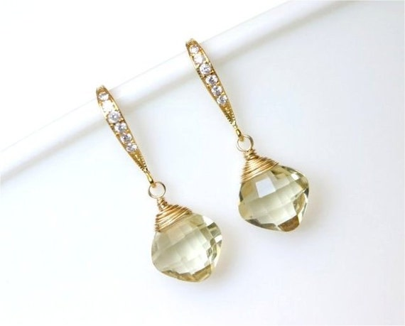 Gemstone Earrings, Champagne Quartz Faceted Cushion Briolettes, Gold-filled Wire Wrapped, Gold Earwires with Cubic Zirconia. E092.