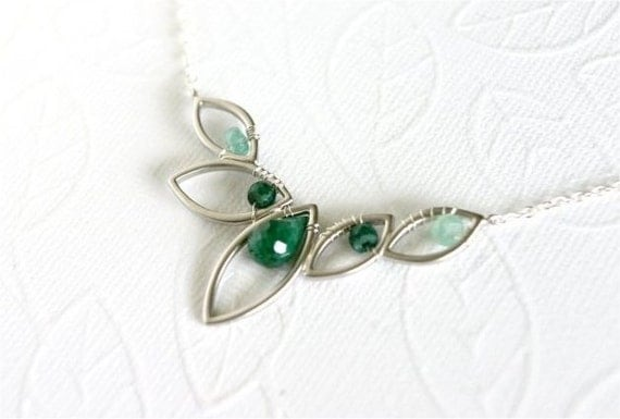 May Birthstone Necklace, Emerald Faceted Drop Briolette and Rondelles, Silver Marquise Leaf Link, Sterling Silver Chain. N063.