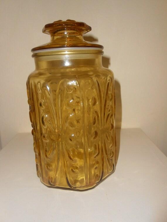Vintage Gold Apothecary Jar Yellow Amber Glass Jar