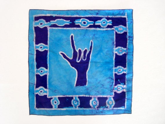ASL I Love You Batik Wallhanging - Children's Art Supporting Ghanaian Deaf Students