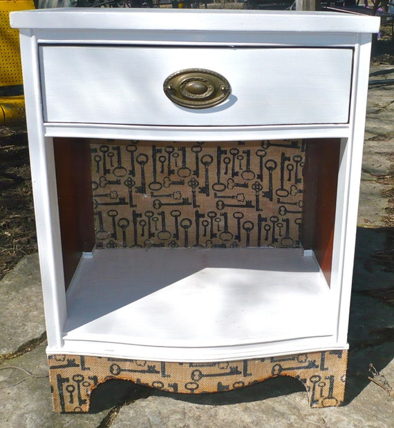 Vintage Nightstand with Skeleton Key Burlap Fabric French Provincial