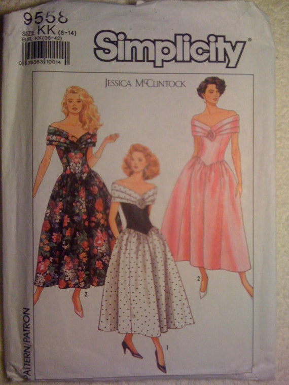 Simplicity 80s Sewing Pattern 9558 Misses and Miss Petite Dress by Jessica McClintock Size 8-14 Sale