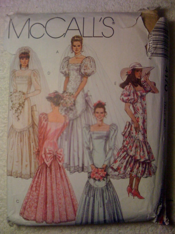 McCalls 80s Sewing Pattern 4170 Misses Brides or Bridesmaids Gown or Dress Size 20 Sale