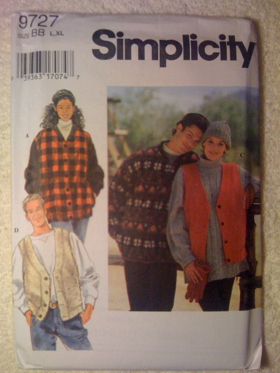 Simplicity 90s Sewing Pattern 9727 Misses, Mens and Teens Jacket and Vest Size 42 - 48 UNCUT Sale