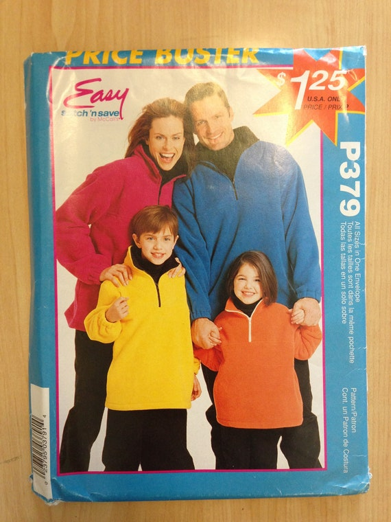 McCalls 90s Price Buster Sewing Pattern P379 Adults and Children Pullover Tops All Sizes UNCUT Sale