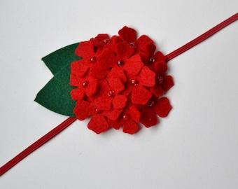 Red felt flower headband