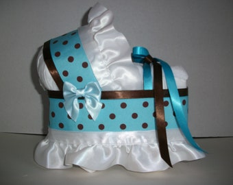turquoise blue and brown polka dot dots boy diaper bassinet baby shower gift table decoration centerpiece