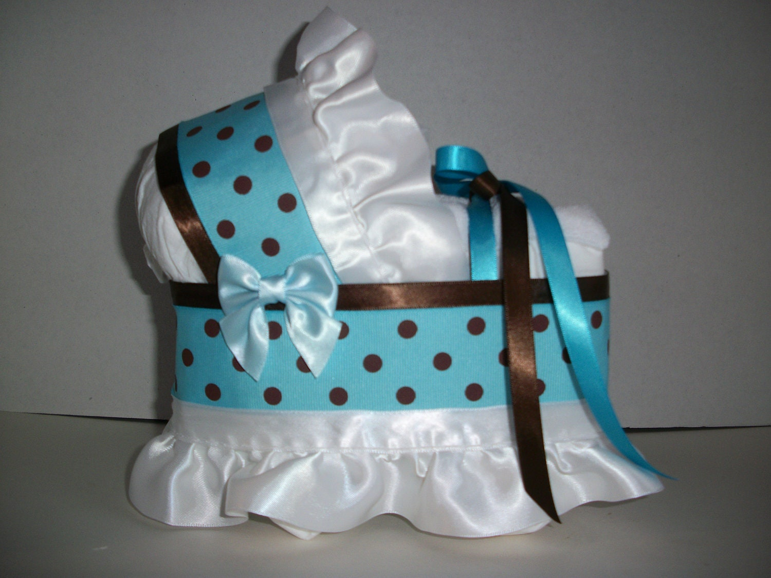 Turquoise Baby Shower Decorations Turquoise Blue And Brown Polka Dot Dots Boy Diaper Bassinet