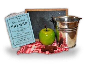 "18"" American Girl Doll Size Pioneer Early American School food: Pail, Primer, Apple, Cookie -Samantha, Addy, Kirsten, Caroline Abbott,"