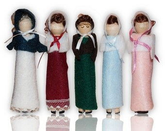 Jane Austen Clothespin Doll Ornament Kit: The Bennet Sisters- Jane, Elizabeth, Mary, Kitty, Lydia