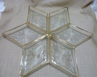 Mid century set of six glass and gold starburst dishes