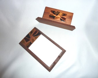 Bovano Mid Century Danish Modern Enameled Copper and Wood Notepad and Letter Holders