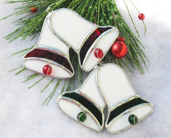 Stained Glass Christmas Bells Ornaments by LakeSideStainedGlass