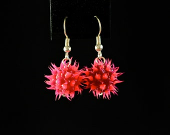 Funky Pink Spikes Drop Earrings