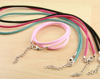 10 Faux Suede Leatherette Necklace Cords.  Lobster Clasp with Extender Chain. 17-19 inch .Pink, Hot Pink, Black, Dusty Teal - Ships from USA