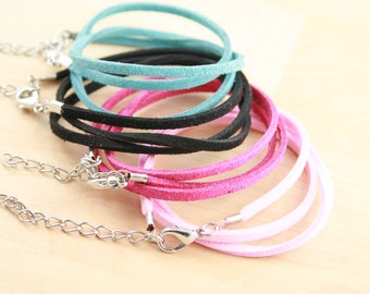 200 Faux  Leather Suede - Necklace Cords. Lobster Clasp. Ext Chain. 16-18 inch. Pinks, Purple, Brown,Black, Dusty Teal - Ships from USA