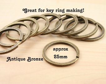80 - Large Split Rings for Key Ring and Key Chains - Round, Heavy Duty, 25mm  silver and vintage antique