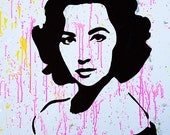 "MR.BABES - ""Elizabeth Taylor"" - Original Hand Painted Pop Art Portrait - One Of A Kind Acrylic On Canvas Painting"