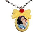 Snow White Necklace, Classic Disney Princess, Heart Yellow Cameo Necklace