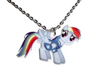 Rainbow Dash Necklace, Kawaii Pony, Laser Cut Pendant