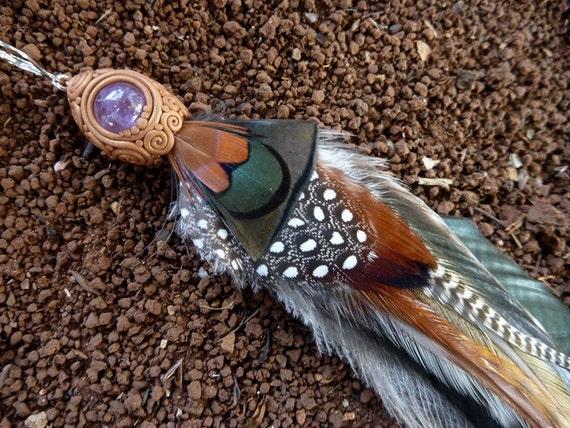 Desert Dreamer: OOAK Feather & Amethyst Earring