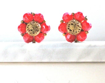 Red Earrings Beaded Clip on with Textured Faux Gold Filigree Mid Century Holiday Fourth of July