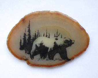 Bear Agate Stone Black and Ochre Home Decor vintage