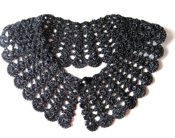 Black Crochet Collar Sexy Peter Pan Style with Silver Threads Vintage Fashion Unique